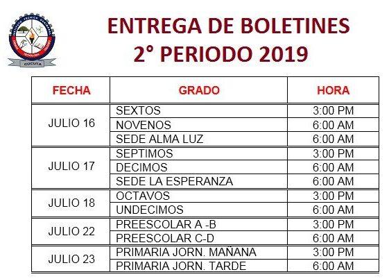 Entrega de Boletines Segundo Periodo 2019